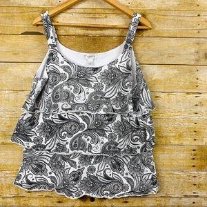 Dress Barn Tank Blouse 3 Tier Paisley White XL